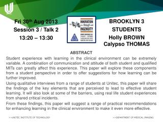 BROOKLYN 3 STUDENTS Holly BROWN   Calypso THOMAS