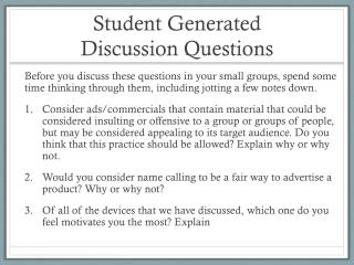 Student Generated  Discussion Questions
