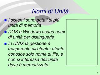 Nomi di Unità