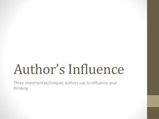 Author's Influence