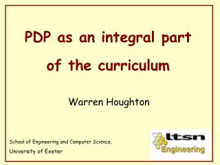 PDP as an integral part of the curriculum