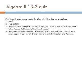 Algebra II  13-3 quiz