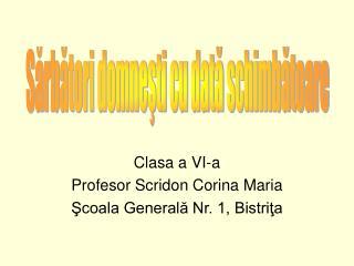 Clasa a VI-a Profesor Scridon Corina Maria Şcoala Generală Nr. 1, Bistriţa