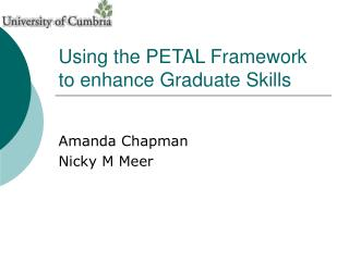 Using the PETAL Framework to enhance Graduate Skills