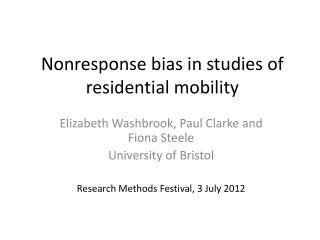 Nonresponse  bias in studies of residential mobility