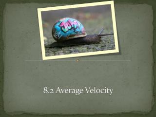 8.2 Average Velocity