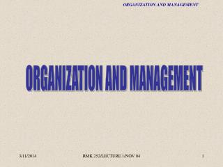 RMK252 - Organization and Management