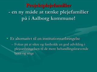 Projektplejefamilier - en ny måde at tænke plejefamilier på i Aalborg kommune!
