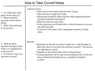 How to Take Cornell Notes