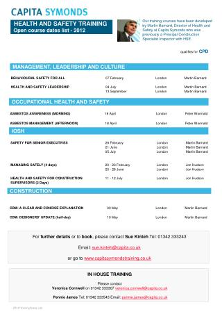 HEALTH AND SAFETY TRAINING   Open course dates list - 2012