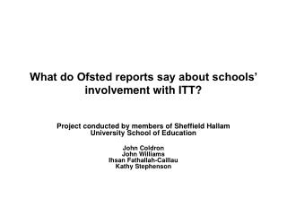 What do Ofsted reports say about schools' involvement with ITT?