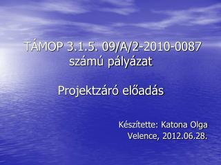 TÁMOP 3.1.5. 09/A/2-2010-0087 számú pályázat  Projektzáró előadás