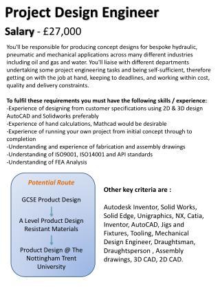 Potential Route GCSE Product Design A Level Product Design  Resistant Materials