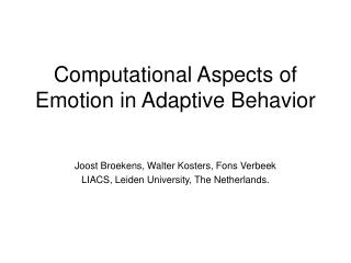 Computational Aspects of Emotion in Adaptive Behavior