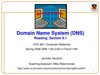 Domain Name System DNS Reading: Section 9.1