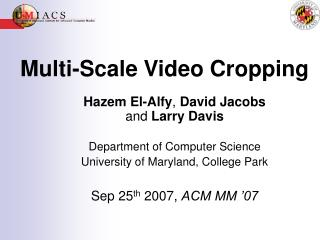 Multi-Scale Video Cropping