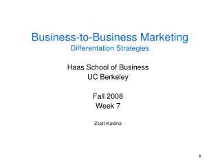 Business-to-Business Marketing Differentation Strategies