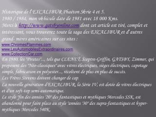 Historique de l � EXCALIBUR Pha�ton S � rie 4 et 5.