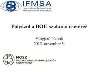 Pályázol a BOE szakmai cserére ? Világjáró Napok 2012. november 5.