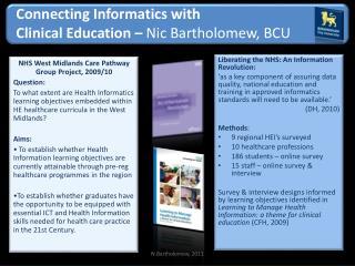 Connecting Informatics with  Clinical Education –  Nic Bartholomew, BCU