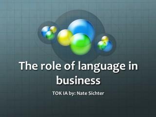 The role of language in business