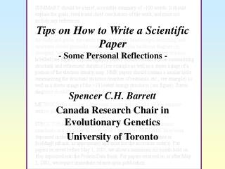 Tips on How to Write a Scientific Paper  - Some Personal Reflections -