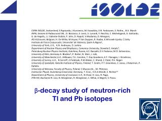 β-decay study of neutron-rich  Tl  and  Pb iso topes
