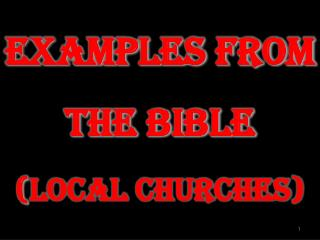 Examples from  the Bible  ( Local Churches )