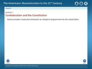 American  leaders create the Constitution as a blueprint of government for the United States.