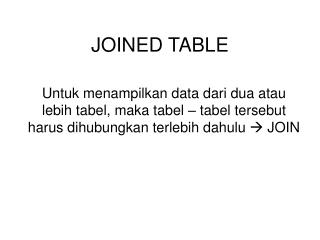 JOINED TABLE