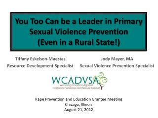 You Too Can  be a  Leader  in  Primary Sexual Violence Prevention  (Even  in a  Rural State !)