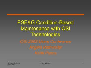 PSEG Condition-Based Maintenance with OSI Technologies