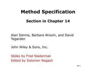 Method Specification  Section in Chapter 14