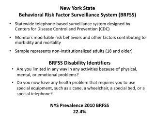 New York State Behavioral Risk Factor Surveillance System (BRFSS)