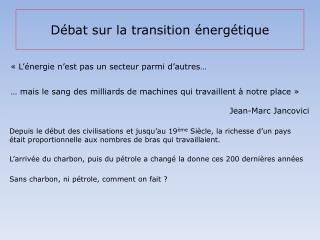Débat sur la transition énergétique