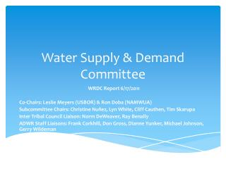Water Supply & Demand Committee