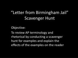 �Letter from Birmingham Jail� Scavenger Hunt