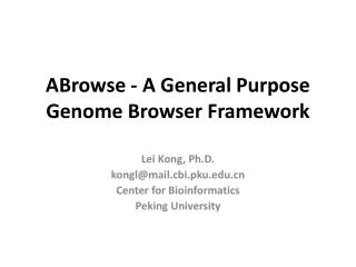 ABrowse - A General Purpose Genome Browser Framework