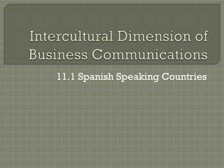 Intercultural Dimension of Business Communications