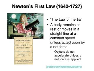 Newton's First Law (1642-1727)
