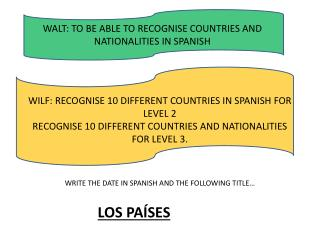 WALT: TO BE ABLE TO RECOGNISE COUNTRIES AND NATIONALITIES IN SPANISH