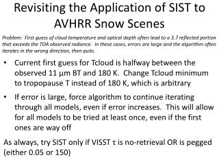 Revisiting the Application of SIST to AVHRR Snow Scenes