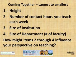 Coming Together – Largest to smallest