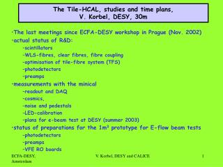 The Tile-HCAL, studies and time plans, V. Korbel, DESY, 30m