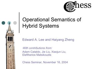 Operational Semantics of Hybrid Systems