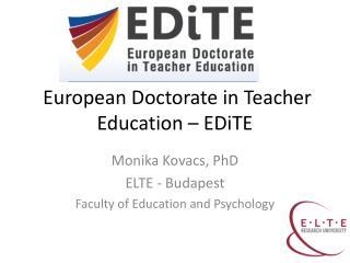 European Doctorate in Teacher Education –  EDiTE