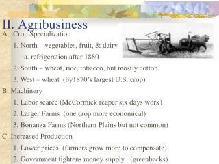 II. Agribusiness