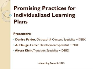 Promising Practices for Individualized Learning Plans