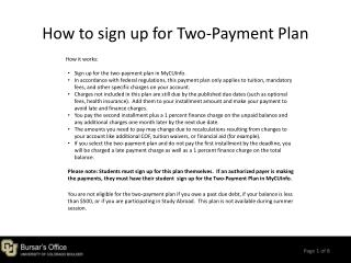 How to sign up for Two-Payment Plan