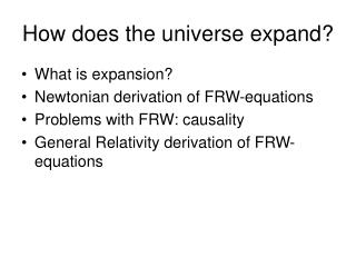 How does the universe expand?